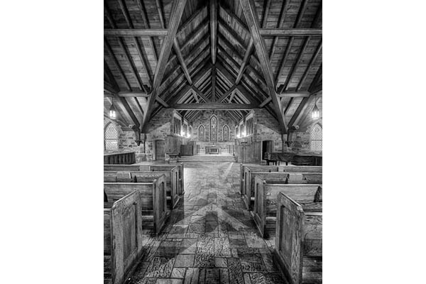 Black And White Photo Of Frost Chapel At Berry College
